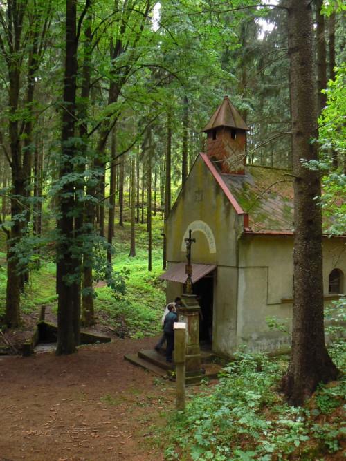 Studánka a kaplička Panny Marie v údolí Zlatnice